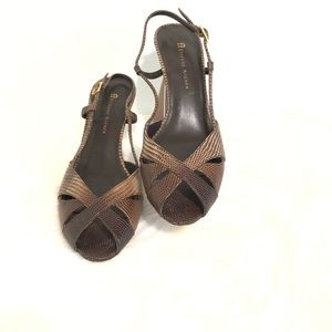 Etienne Aigner sandles 8m GUC brown and tan